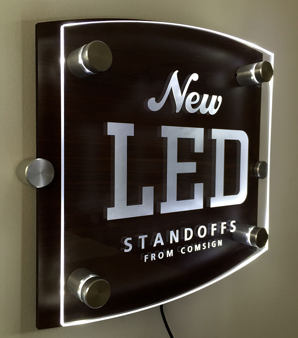 Standoffs and Wire Suspension sign